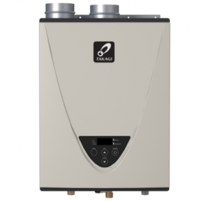 TAKAGI Takagi T-H3-DV-N Indoor Tankless Water Heater Review Takagi T-H3-DV-N Indoor Tankless Water HeaterA large family needs more supply of water and if it has to be heated with traditional tanks, there will be too much waste of money on sky high bills. This has been a reality for many in a long time. However, it doesn't have to last forever because new solutions have risen up to conquer the problems. Tankless water heaters have saved not only space but also money that gets lost in unused electricity charges. Takagi has been one of the most valued suppliers for these life saving devices. The Takagi T-H3-DV-N is one of the famous models that have really helped in water heating of homes and small businesses. So, we decided to look into this device and write a review on the Takagi T-H3-DV-N so you can get more insight into its workings. This tankless water heater is mostly known for its highest flow rate of 9.5 gallons per minute. This flow rate is insanely higher than many other quality tankless water heaters. Its gas input of 199,000 BTU can support water heating for around 4 bathrooms. That's some energy there. Contents [show] FeaturesTakagi T-H3-DV-N -Energy star rated -Residential warranty of 15-year limited heat exchanger and 5 years limited parts -Commercial warranty of 5-year limited heat exchanger and 5 years limited part. -25 times better heat transfer facilitated by Primary heat exchanger which utilizes commercial-grade copper alloy rather than stainless steel -Secondary heat exchanger uses 316L stainless steel for better corrosion resistance -NSF certified for commercial applications -Is in compliance with Ultra-Low NOx regulations -Easy-Link up to four units and multi-Link up to 20 units with a Multi-Unit Controller -Integrated controls and power cord -Maximum flow rate of 10.0 GPM at 35°F temperature rise and 5.4 GPM at 70°F rise -Energy efficiency of 0.95% -Venting with Schedule 40 PVC, CPVC, PP, in Category III stainless steel -Self-protection features Pros -It works super quietly. -It can provide water for long hours consistently. -Perfect for large family uses. -It has safety measures for common problems Cons -Requires proper venting but doesn't come with any kit -It can't provide instant hot water. -Only professional installation. If done otherwise, warranty will be voided. Takagi T-H3-DV-N